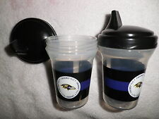 NFL SPILL PROOF SIPPY CUPS BALTIMORE RAVENS 2 PACK AGES 9 MO and UP BABY FANATIC