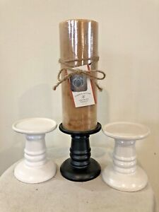 Lot Of 3 Ceramic Pillar Candle Holders 1Black and 2 White