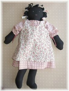 Black African American Primitive Handmade Rag Doll Folk Art Cloth Pink Pinafore
