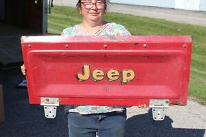 "Original Vintage 1976-86 Jeep CJ5 CJ7 CJ8 36"" RED Metal Tailgate Tail Gate Sign"