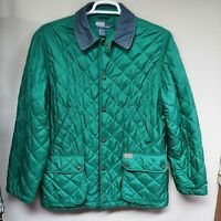 POLO by Ralph Lauren Women's Quilted Jacket Snap Button Front Coat Green Medium
