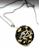 necklace Orgone Orgonite pendant  Eye of Horus, Shungite, 24K Gold, protection