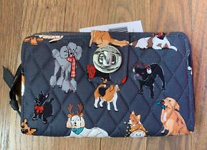 Vera Bradley Holiday Dogs Best In Show Gray RFID Turnlock Zip Clutch Wallet NWT