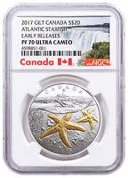 2017 Canada Sea Atlantic Starfish 1 oz Silver Gilt $20 NGC PF70 UC ER SKU49409