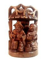 ORIGINAL HAND CARVED WOOD FIGURINE OF 2 FISHERMEN EATING IN A HUT FROM ECUADOR