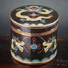 ANTIQUE CHINESE CLOISONNE Dragon emaux vase Boîte à thé Boîte et Couvercle République