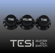 Tesi Stratocaster Knob Set - Black, White Ink
