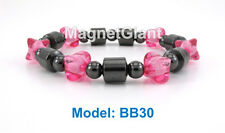 High power elastic magnetic black hematite with pink beads bracelet