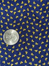 1 3/8 Yards Vtg Cotton Quilt Craft Clothing Fabric Navy Yellow Tiny Bow Calico