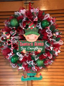 "Christmas Wreath-Red-White-Green Mesh Holidays""Santa's Elves See Everything""🎅🎄"