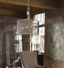 AGED HAND CRAFTED IVORY METAL PENDANT CEILING FIXTURE CHANDELIER SCREEN SHADE