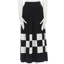 "COMME DES GARCONS 1980s black cotton checkered print hem skirt S 28"""