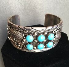 Native American Navajo Shawn Smith Magnificent Silver Turquoise Bracelet