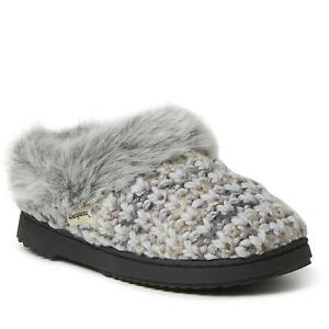 New!!! Dearfoams Women's Hannah Textured Knit Clog Slipper Latte/Cream/Grey