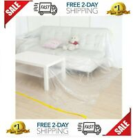 2Pc Plastic Chair Cover Protection Moving Furniture Protector Storage Dust Water