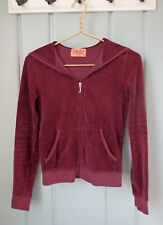 Juicy Couture Womens Small 4 6 Burgundy Red Velour Zip Track Jacket Hoodie USA