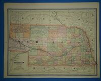 Vintage Circa 1887 NEBRASKA FRONTIER MAP Old Antique Original Atlas Map