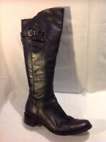 Moda In Pelle Black Knee High Leather Boots Size 40