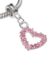 Pink Rhinestone Heart October Birthstone Charm for Silver European Bead Bracelet