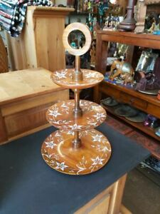 SOLID INDIAN SHEESHAM WOOD CAKE STAND WITH HANDPAINTED FLOWERS HEIGHT 47CMS