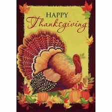 "HAPPY THANKSGIVING SM GARDEN FLAG 12.5"" X 18"" SEASONAL 11-2818-220 FALL RAIN"