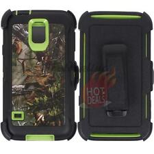For Samsung Galaxy S5 Green/Tree Camo Defender Case Cover (Clip Fits OtterBox)