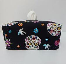 Tissue Box Cover Glitter Sugar Skulls On Black With Circle Opening - Gorgeous!