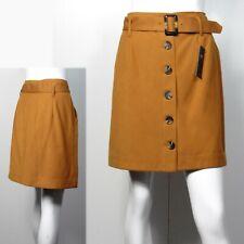 M&S Button front A-LINE MINI SKIRT with Belt ~ Size 14 ~ COGNAC