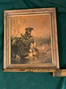 "Prang American Half-Chromos 1869 ""Frightened Ducklings"" 10 1/2"" by 11 12"" Framed"