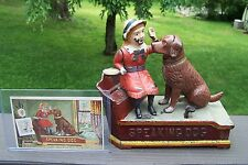 1885 Antique SPEAKING DOG MECHANICAL BANK With Trading Card, AUTHENTIC