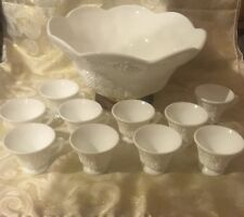 Colony Harvest Grape Paneled Milk Glass Punch Bowl w/gold raised base & 10 Cups