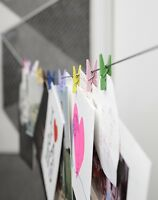 Kikkerland 10 Mini Multicoloured Clothespin Peg Note Photo Holder Clothes Line