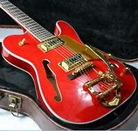Custom Shop F Hole TL Archtop Semi Hollow Body Electric Guitar Red Gold Hardware
