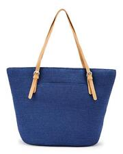 MAGID Navy Blue Color Buckle Strap Straw Bucket Tote