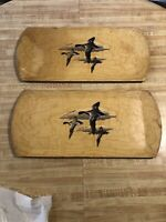 Vintage  Flying Ducks Lithographed Paper on Wood Trays Display Lot of (2)