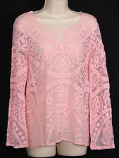 Breeze Ever Womens Crochet Shirt S Small Sheer Mesh Top Boho Floral Pink Lace