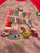 Two Piece Shopkins Red Happy Holidays Outfit Pajama Sleepwear Top Pants Size 8