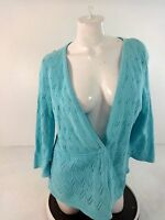 CHRISTOPHER & BANKS WOMENS BLUE COTTON CARDIGAN SWEATER SIZE XL