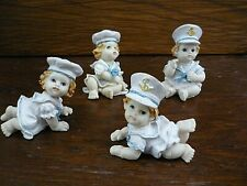 Collection of 4 Cute Sailor Boy Girl Babies Baby Boys Girls Figures Ornaments