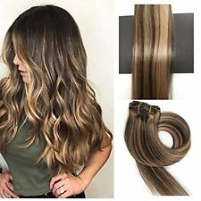Brazilian Human Hair Extensions Clip in Silky Straight Weft Remy 18 inches #4 27