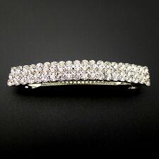 "Sparkling Small 2.5"" Rhinestone Crystal Barrette Wedding Updo Hair Style Clip"