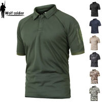 Mens Tactical Combat T-Shirts Army Military Short Sleeve Casual POLO Shirts Camo