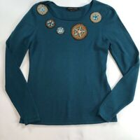 Adrienne Vittadini Womens Pullover Sweater Green Long Sleeve Applique Wool S