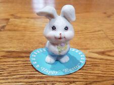 Vtg Ceramic White Bunny Rabbit w Flowers Easter Figurine Decor Russ Berrie