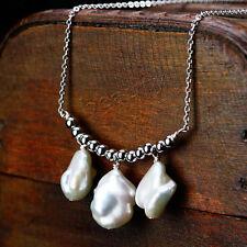 Collier Argent 925 Massive Pendantif Perle Culture Blanc Poire Baroque Nacre T2