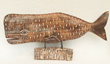 More details for unusual hand carved rustic whale large shabby chic wooden whale carving 75cm