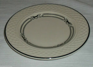 """Homer Laughlin GOTHIC  Bread Butter Plate Black Band Floral 6"""""""