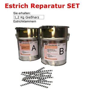 1,2 Kg Rissharz Estrich-Reparatur Rissverschluss Epoxid Harz+ 20 Estrichklammern