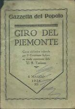 Giro del Piemonte 1934 - Programma ed Atleti - Binda Guerra Gazzetta del Popolo