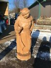 Antique All Carved Wood Beer Monk With Keys 65H 27W 18 D